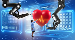 The heart surgery done by robotic arm Royalty Free Stock Image