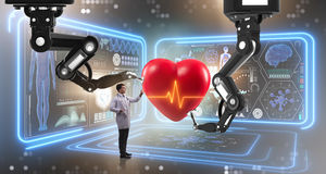 The heart surgery done by robotic arm Royalty Free Stock Photo