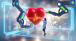 The heart surgery done by robotic arm Royalty Free Stock Images