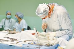Heart surgery operation. Surgeon perform operation on a patient at heart surgery clinic royalty free stock image