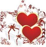 Heart with a surprise. Red hearts with gift boxes and a vegetative ornament Stock Photography