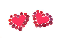 Heart surrounded with buttons by Valentine's Day Stock Images
