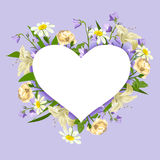 Heart surrounded by different flowers Royalty Free Stock Photos
