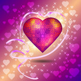 Heart surrounded a ribbon. Valentine day Royalty Free Stock Photo