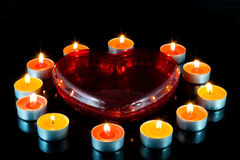 Heart , Surrounded Small Candles. Stock Photography