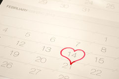 A heart surrounding the February 14 on the calenda Stock Photography