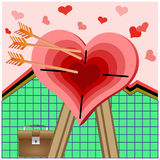 Heart in surroundings of arrows. Stock Photo
