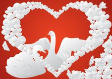 Heart, swans and flowers Stock Photo