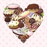 Heart of sweets stock illustration