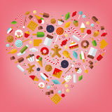 Heart of Sweets and Candy. Candy, sweets, cookies and cakes icons arranged in heart shape on pink background, flat design Stock Image