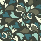 Heart Swirl Pattern. A seamless pattern of swirled hearts on a brown background Stock Illustration