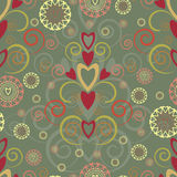 Heart and swirl seamless pattern Stock Photo