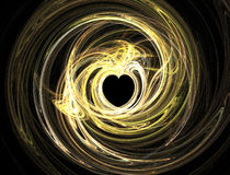 Heart in swirling light. A heart surrounded by swirling streaks in a light painting against a black background Stock Images