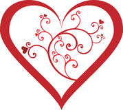Heart with swirls in red. EPS8 file included stock illustration