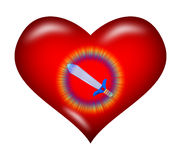 Heart and Sword. Sword emits light in the red heart means love is a powerful revival Royalty Free Stock Image