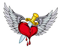 Heart with sword and wings. In retro style for tattoo design Royalty Free Stock Image