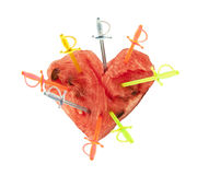 Heart with swords. Red Heart with colored swords Royalty Free Stock Images