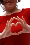 Heart Symbol. A close up picture of two hands showing a heart symbol royalty free stock images