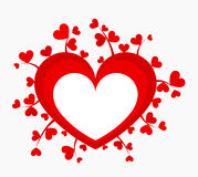 Heart symbol. Red heart with many little growing hearts. Vector illustration stock illustration