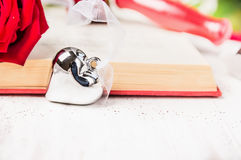 Heart symbol against the backdrop of an open book. Valentines day card Stock Photography