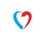 Heart symbol created with two arrows, conceptual vector logo iso. Lated on white background Royalty Free Illustration