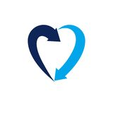 Heart symbol created with two arrows, conceptual vector logo iso. Heart symbol created with two arrows, conceptual vector logo  on white background Royalty Free Stock Images