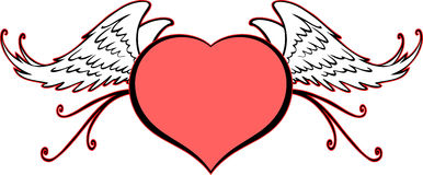 Heart symbol with curly decorations Stock Photo