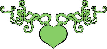 Heart symbol with curly decorations Royalty Free Stock Photo