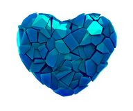 Heart symbol in a 3D illustration made of broken plastic blue color isolated on a white royalty free illustration