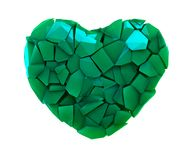 Heart symbol in a 3D illustration made of broken plastic green color isolated on a white. Background Royalty Free Illustration