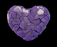Heart symbol in a 3D illustration made of broken plastic purple color isolated on a black. Background Stock Images