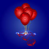 Heart symbol end beautiful balloons. I love you, heart symbol end beautiful red balloons stock illustration