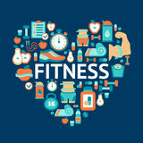 Heart symbol with fitness flat icons Royalty Free Stock Photos