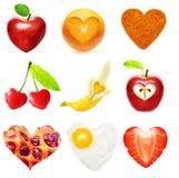 Heart symbol food isolated Royalty Free Stock Photos