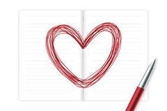 Heart symbol hand drawing by pen sketch red color with notebook, valentine concept design. Illustration isolated on white background, with copy space Stock Photos