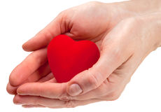 Heart symbol in hands. Isolated on white Royalty Free Stock Photography