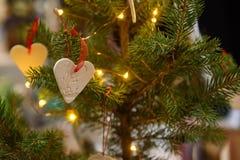 Heart symbol, hanged on Christmas tree, during Christmas Charity Bazaar, organised by The International Women`s Club of Riga. 01.12.2018. RIGA, LATVIA stock photo