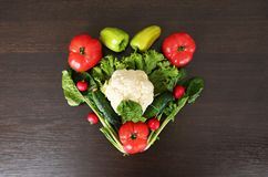 Heart symbol. Healthy eating concept .Vegetables diet concept. Food photography of heart made from different vegetables Stock Photography