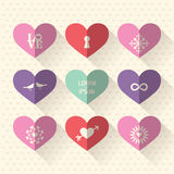 Heart symbol icon set with love and wedding concept Stock Photos
