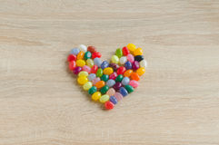 Heart symbol from jelly beans Stock Photos