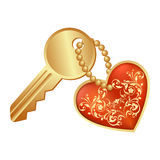Heart symbol and key Royalty Free Stock Image