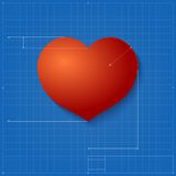 Heart symbol like blueprint drawing. Stock Images
