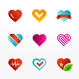 Heart symbol logo icon set Royalty Free Stock Photos