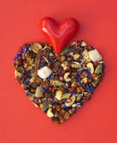 Heart - symbol of love. Heart shape of loose tea - Valentine's Day. Symbol of love stock photos