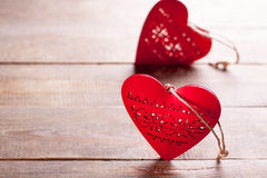 Heart symbol of love. Red hearts on wooden background. Symbol of love in valentine's day Stock Photo