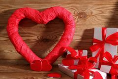 Composition with heart for all lovers. The heart is a symbol of love. Therefore, it is worth to give a card with this symbol I gift stock photo