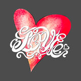 Heart symbol of love and Valentines day lettering Stock Images