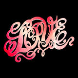 Heart symbol of love and Valentines day lettering Stock Image