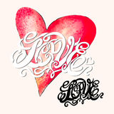 Heart symbol of love and Valentines day lettering Royalty Free Stock Photography