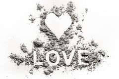 Heart symbol and love word letters drawing in ash, dust royalty free stock images
